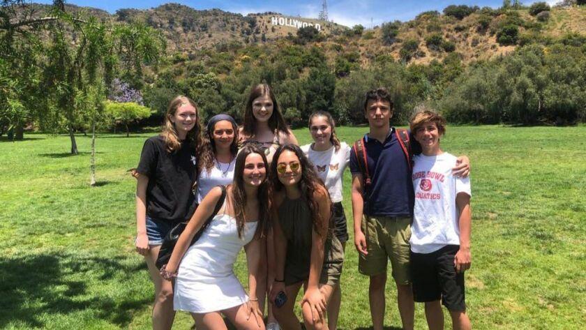Visiting Spanish students from Villanueva de La Canada pose with their La Candaa Flintridge hosts du