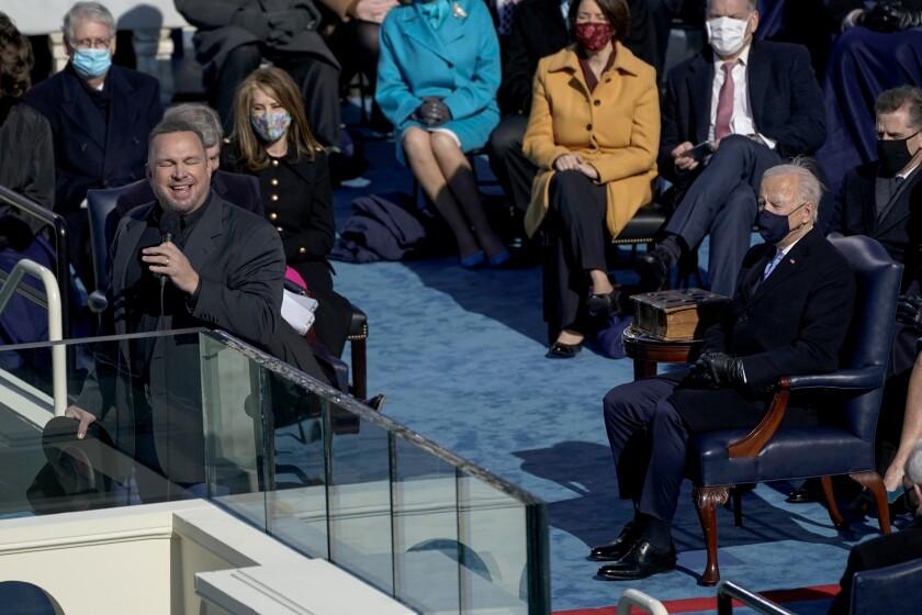 "Garth Brooks sings ""Amazing Grace"" at President Biden's inauguration Wednesday."