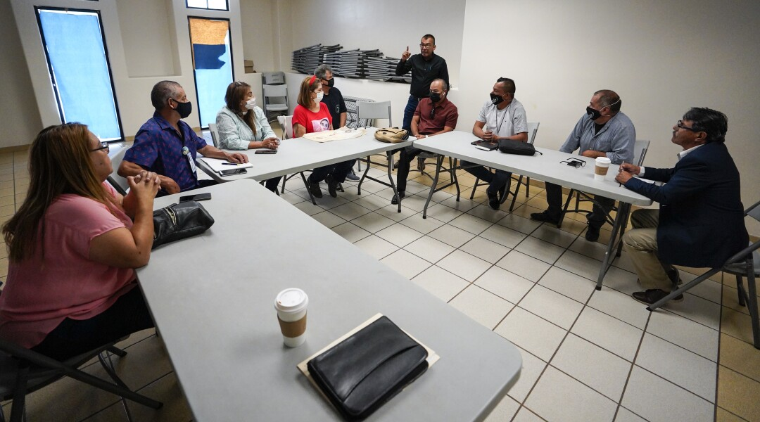 Members of a parents collective searching for their missing children attend a leadership meeting in Tijuana.