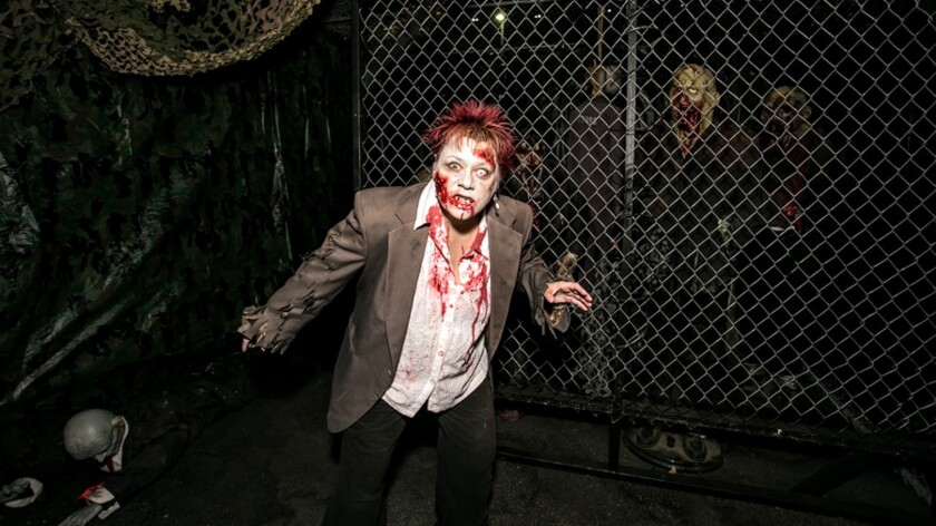 The undead are on the loose along the Strip and terrifying tourists at Zombie Escape  through the end of the month.