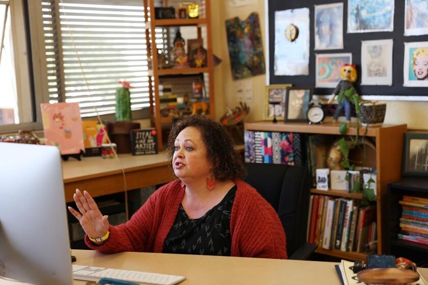 Antoinette Bailey, head of Millikan High school's art department, leads a class via Zoom.
