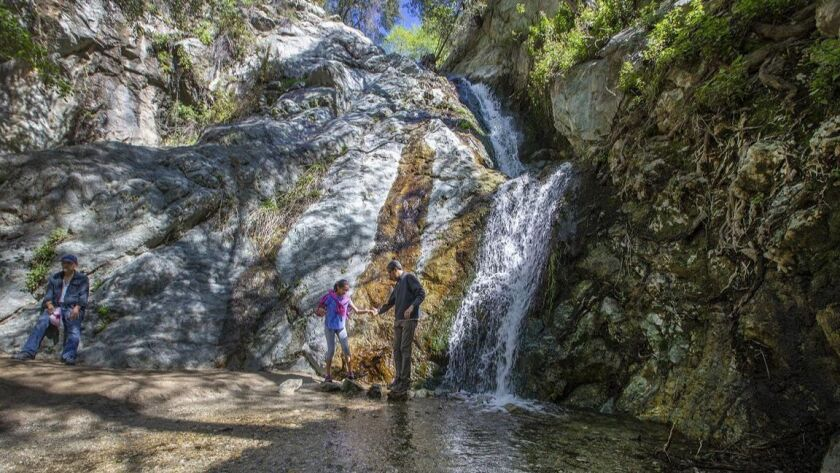 The waterfalls at Monrovia Canyon Park are surrounded by a lush canopy of oaks and alders.