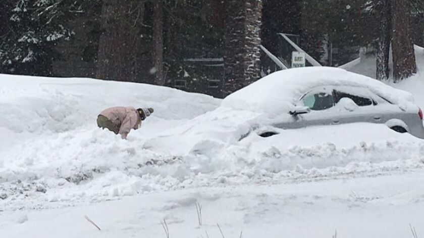 Heavy snows have snarled parking around tiny Mammoth Lakes. To clear room to plow, snow removal operators now truck the stuff out of town.