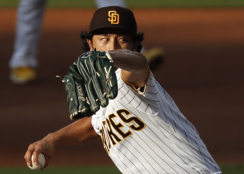 Padres pitcher Yu Darvish throws against the Washington Nationals at Petco Park on July 8.