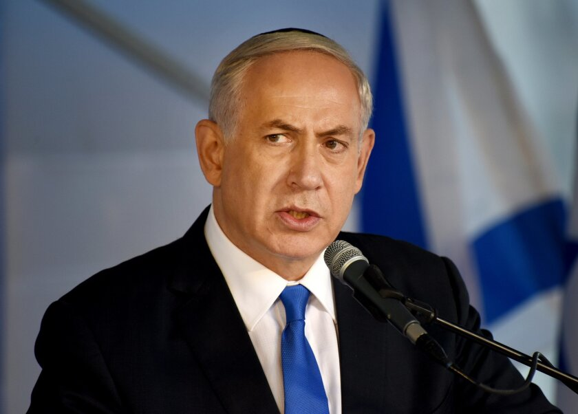 FILE - In this Monday, Oct. 26, 2015 file photo, Israeli Prime Minister Benjamin Netanyahu speaks during the official memorial ceremony marking the 20th anniversary of the assassination of the late Prime Minister Yitzhak Rabin in the Mt. Herzl Cemetery in Jerusalem. Netanyahu's newly appointed spok