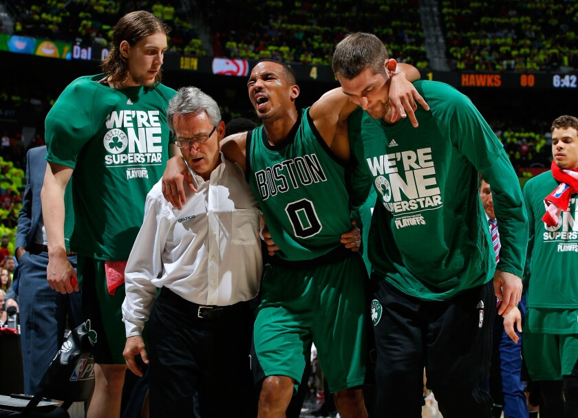 Celtics guard Avery Bradley could miss the rest of first-round playoff series because of a hamstring strain