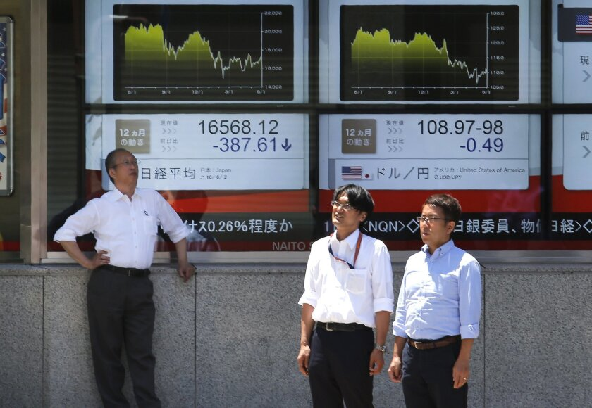 People wait to cross a street in front of an electronic board showing Nikkei stock index, left, in Tokyo, Thursday, June 2, 2016. Asian shares meandered Thursday amid uncertainty over the world outlook in general and the Japanese economy in particular, following a decision by Prime Minister Shinzo