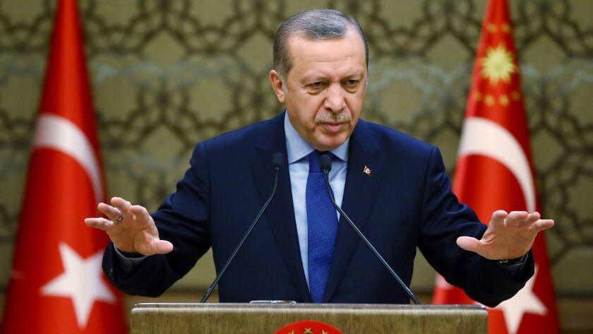 Turkish President Recep Tayyip Erdogan addresses local administrators in Ankara, the capital, on Dec. 7, 2016.