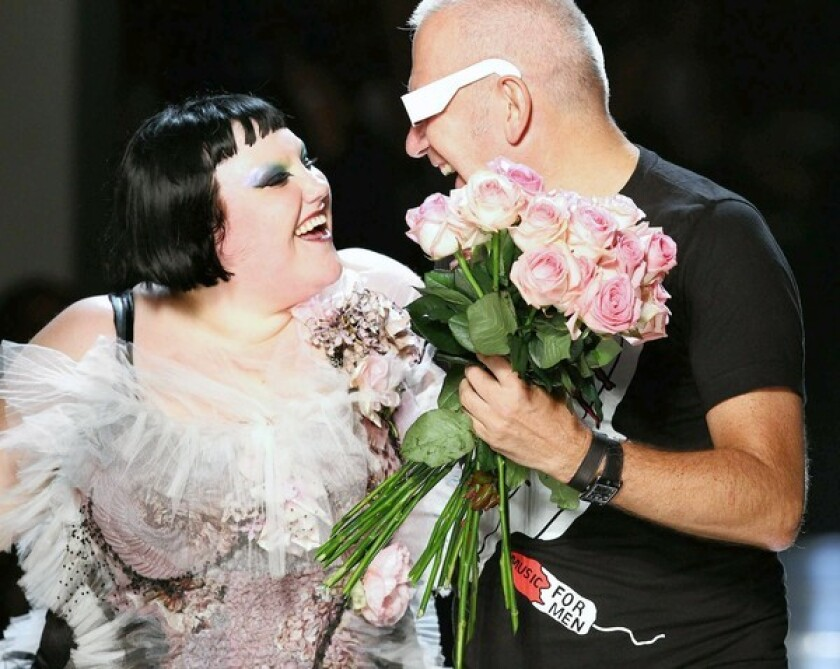 Singer Beth Ditto models fashions by French designer Jean Paul Gaultier in the spring-summer 2011 show.
