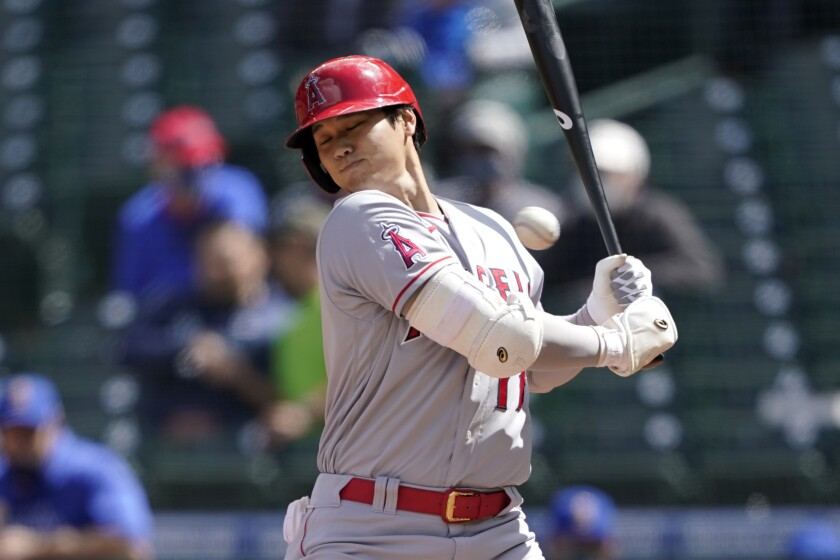 Angels batter Shohei Ohtani is hit by a pitch during the fifth inning of a 2-0 loss to the Seattle Mariners.