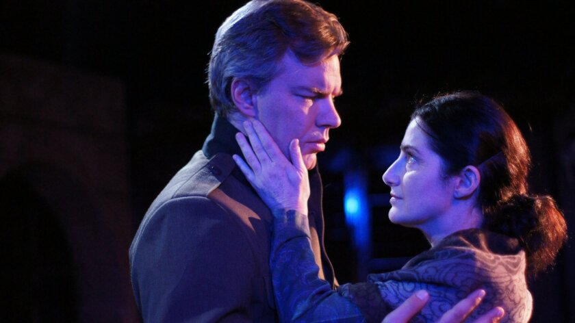 """Jason Heil as Giorgio, left, and Sandy Campbell as Fosca in """"Passion"""" at the Ion Theater."""