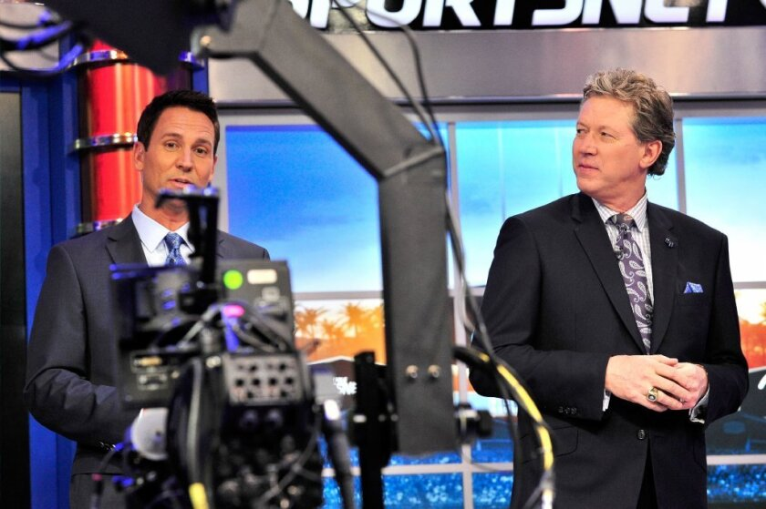 John Hartung, left, and Orel Hershiser have helped launch SportsNet LA and in-depth coverage of the Dodgers.