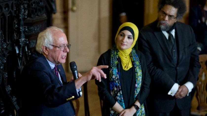 Bernie Sanders, Linda Sarsour and Cornel West, left to right