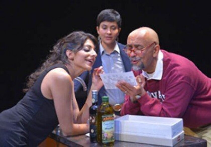 Mahwish (Meera Rohit Kumbhani) and Zarina (Monika Jolly) have bonding time with Dad (Bernard White) in La Jolla Playhouse's world-premiere of 'The Who & The What.'