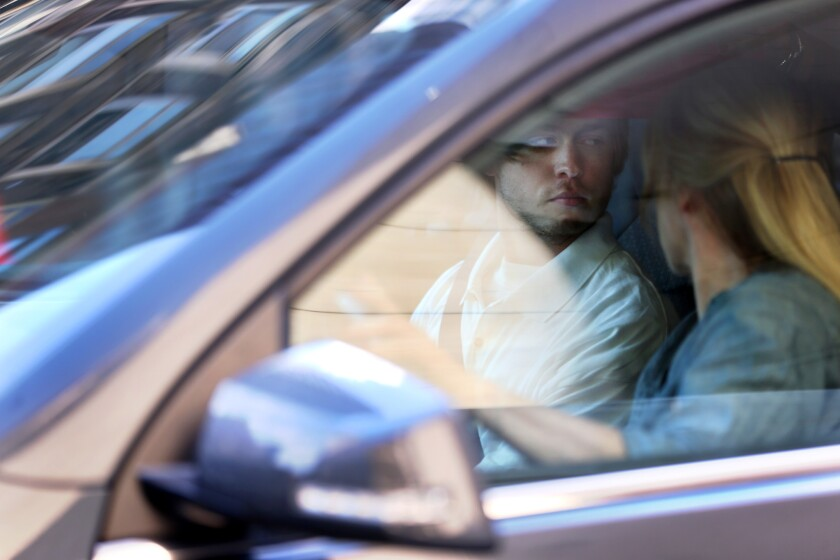 YouTube pop artist Austin Jones is driven away after being released on home confinement from the Metropolitan Correctional Center in Chicago on Thursday, June 15, 2017.