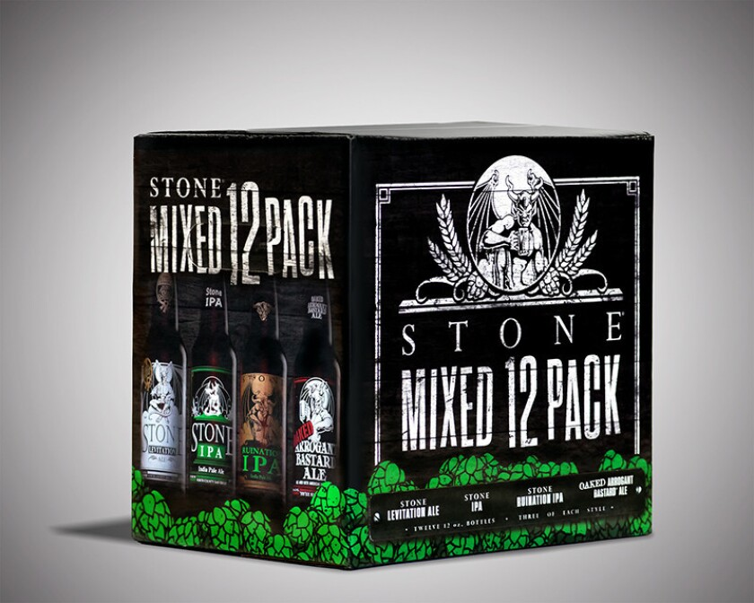 A mixed 12-pack from Stone Brewing.