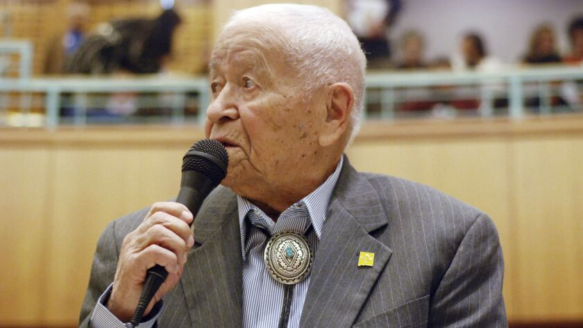 FILE - In this Feb. 2, 2018, fle photo Democratic New Mexico state Sen. John Pinto talks about his c