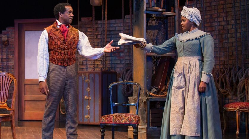 "Albert Jones as Ira Aldridge and Monique Gaffney as Connie in Lolita Chakrabarti's ""Red Velvet"" at the Old Globe Theatre."
