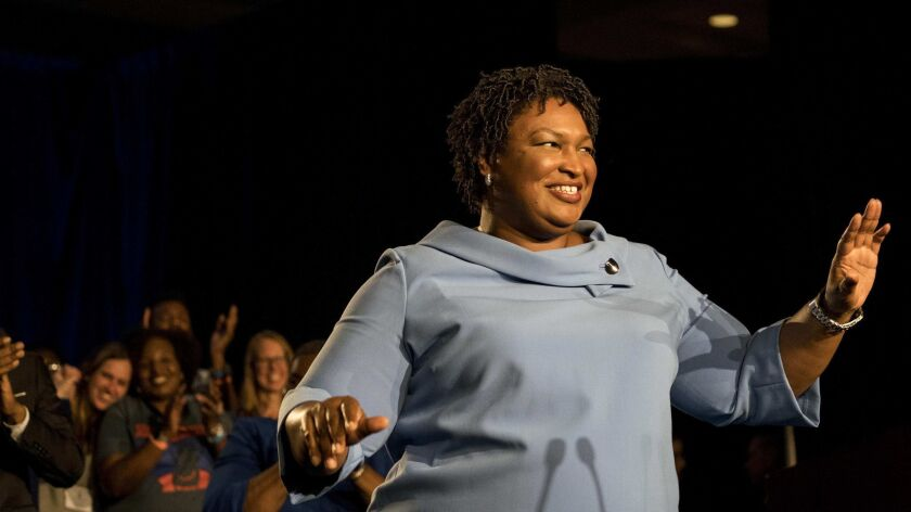 Stacey Abrams, shown in Georgia on Nov. 6, 2018, election day. She has been tapped to deliver the Democratic response to President Trump's State of the Union address.