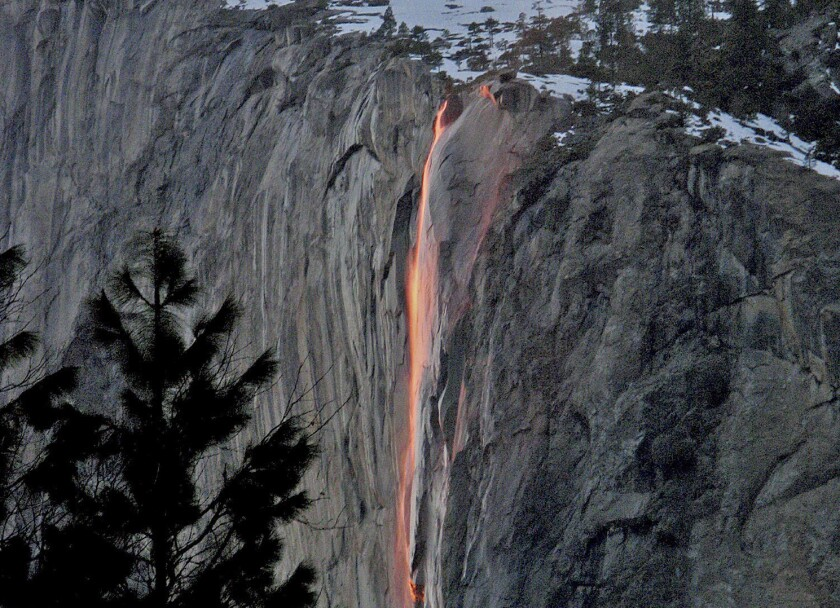 Yosemite's firefall as seen from Glacier Point. The phenomenon occurs in February.