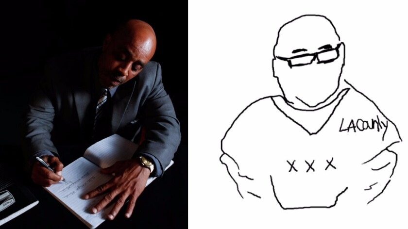 Donnell Alexander with his notebook, and a sketch of Lonnie Franklin