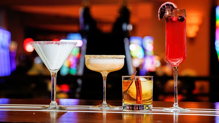 SAN DIEGO, CA October 16th, 2018 | Harrah's drinks: (Left to right) White Christmas (rimmed with pep