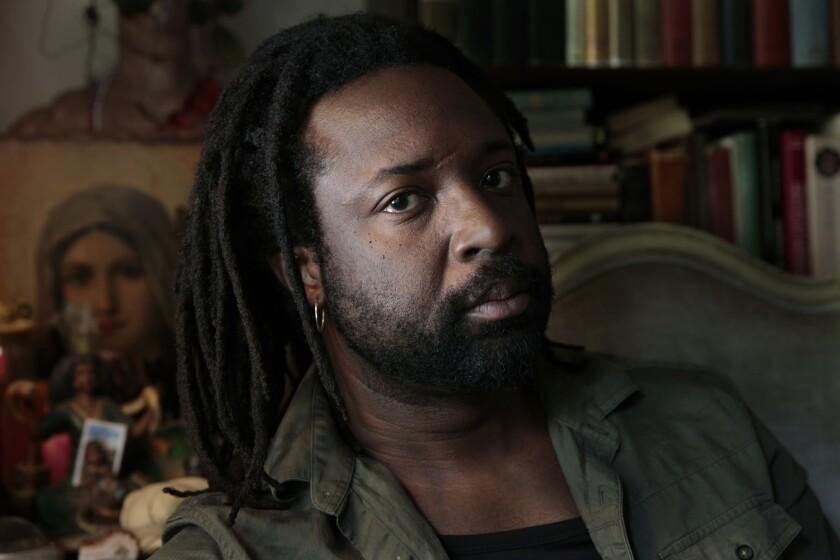 Author Marlon James at Jumel Terrace Books in Harlem.