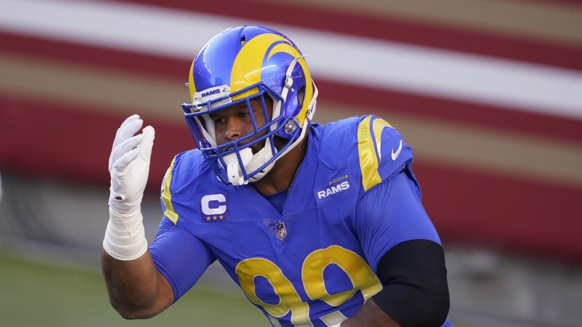 Rams defensive end Aaron Donald before a game against the San Francisco 49ers.
