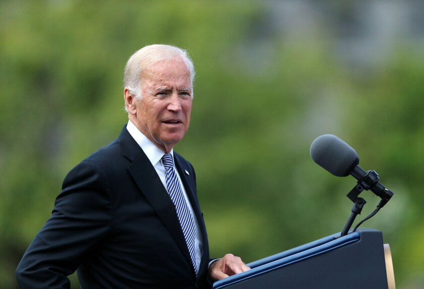 US vice-president Joe Biden delivers a keynote speech in the grounds of Dublin Castle as part of his six-day visit to Ireland, Friday, June 24, 2016. (Niall Carson/PA via AP)