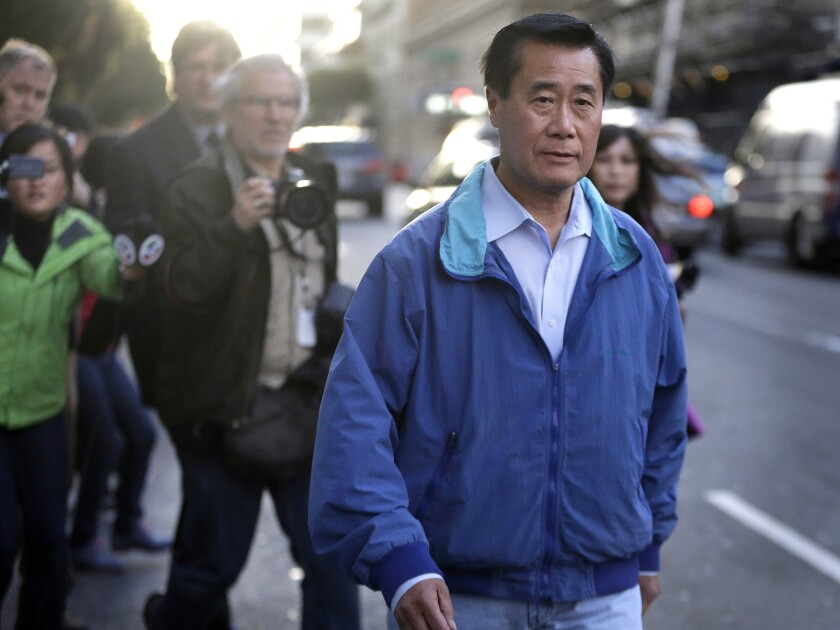 State. Sen. Leland Yee as he left San Francisco federal building after court appearance Wednesday