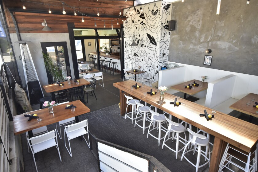 The newly upgraded covered patio at Valentina restaurant in Leucadia.