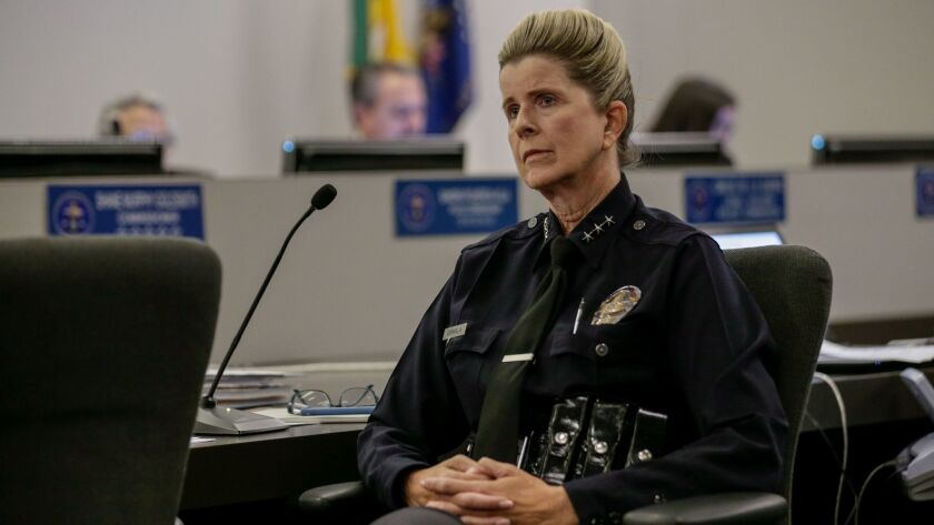 Assistant Chief Beatrice Girmala, listens to public criticism of LAPD drone policy she presented at the Police Commission meeting in Los Angeles on Oct. 3.