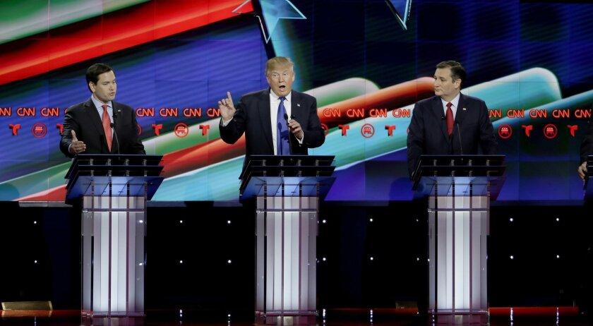 Donald Trump, Sen. Marco Rubio and Sen.Ted Cruz in the Republican presidential primary debate at The University of Houston, Thursday, Feb. 25, 2016.