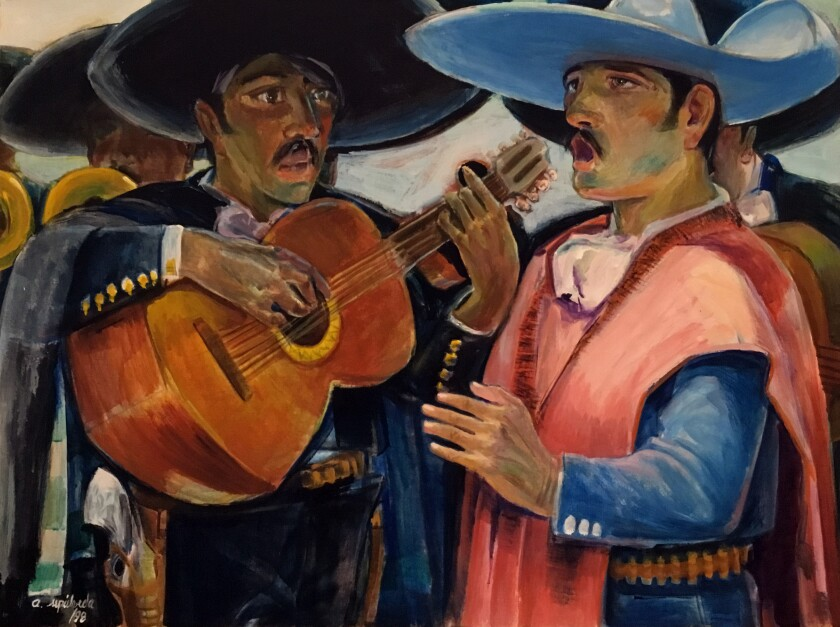 """Mariachis"" by Artemio Sepúlveda is among the paintings on display in a survey of the artist's works at the Laguna Art Museum."