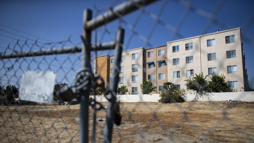 SUNLAND, CA - MAY 23, 2018: This empty lot was proposed to be the site of a 26-unit housing for th