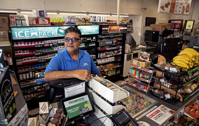 7-Eleven franchisee Jos Dhillon in his store in Reseda, Calif., on Aug. 17, 2018.