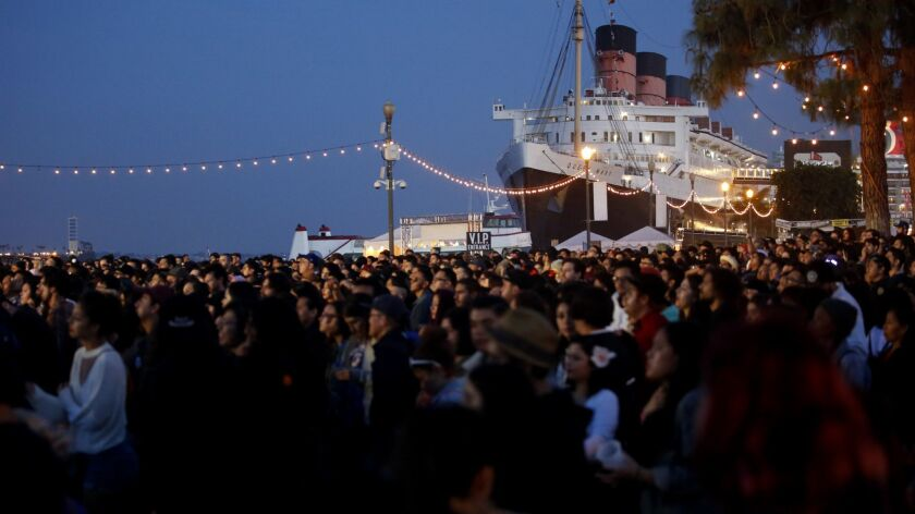 LONG BEACH, CA NOVEMBER 11, 2017: A crowd attending the Tropicalia Music & Taco Festival in the Q
