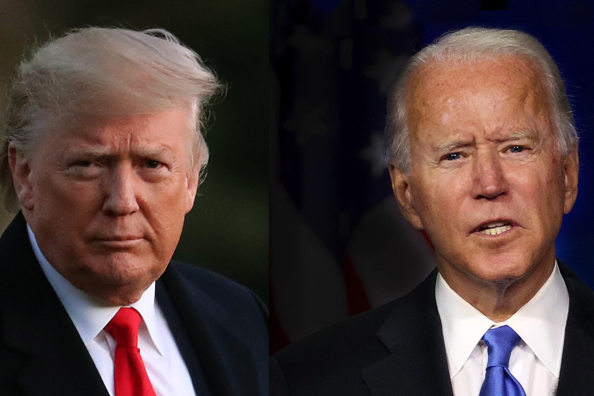 President Trump and Joe Biden in side-by-side portraits.