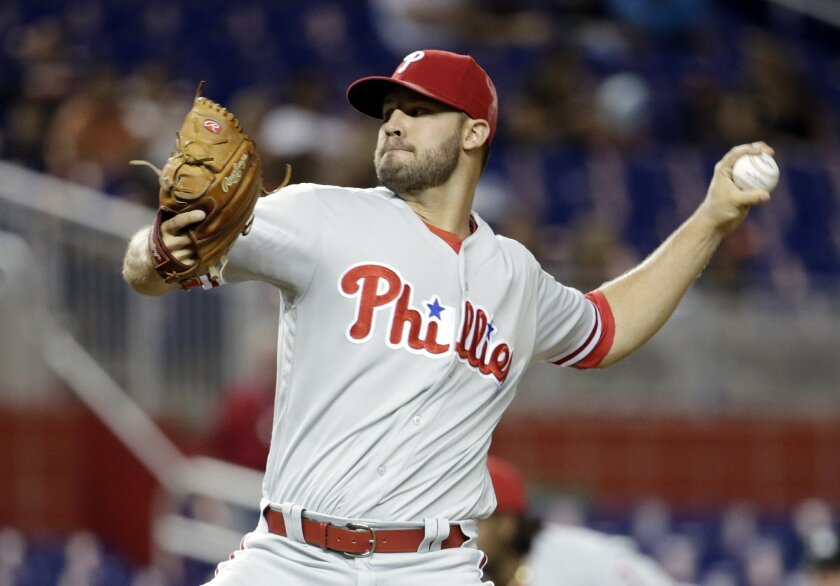 Philadelphia Phillies starting pitcher Adam Morgan throws during the first inning of a baseball game against the Miami Marlins, Tuesday, Sept. 6, 2016, in Miami. (AP Photo/Lynne Sladky)