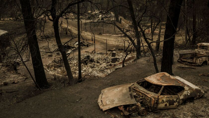 The Carr fire swept through and destroyed property and structures in Shasta, Calif.