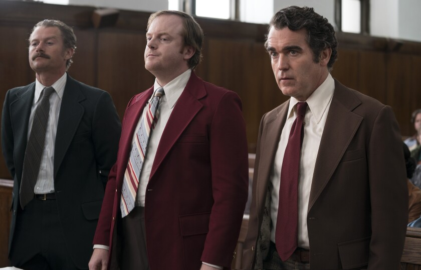 "James Badge Dale, left, Jeremy Bobb and Brian d'Arcy James in the movie ""The Kitchen."""