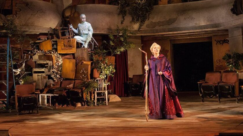 Philippe Bowgen as Ariel and Kate Burton as Prospera in The Tempest, by William Shakespeare, runs Ju