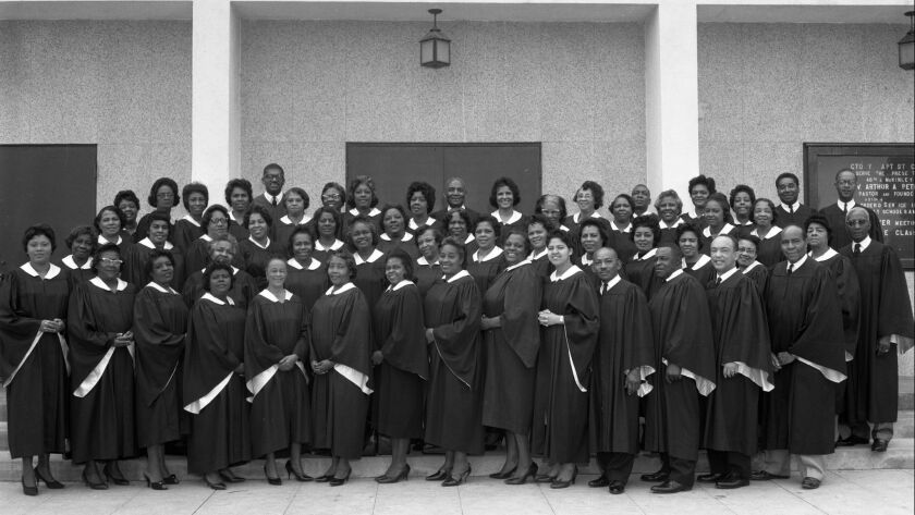 A photograph of Victory Baptist, Los Angeles, 1964. Harry Adams featured in the California African A
