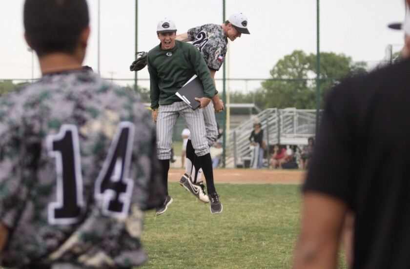 Chris Paddack, rear, celebrates with Ryan Johnson after throwing a no-hitter in his first high school start.