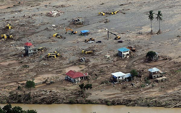 An aerial view shows a swath of destruction in Cagayan de Oro City, in the southern Philippines.