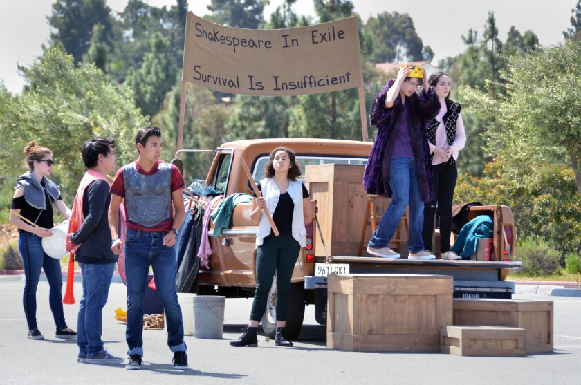 "Students from the Grossmont College Theatre Department will perform ""Shakespeare in Exile"" throughout San Diego this month, one of many local events inspired by the novel ""Station Eleven."""