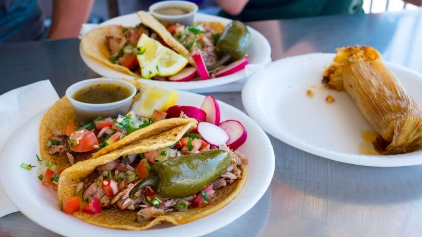 Carnitas tacos at Carnitas Loya.