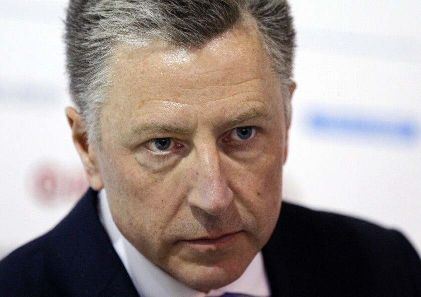 """FILE - In this Sept. 18, 2018 file photo U.S. special representative to Ukraine Kurt Volker attends the 15th Yalta European Strategy (YES) annual meeting entitled """"The next generation of everything"""" at the Mystetsky Arsenal Art Center in Kiev, Ukraine. Volker was little known outside of foreign policy circles as the special U.S. envoy to Ukraine until last week, when the whistleblower complaint against President Donald Trump recast the once obscure diplomat as a central figure in the unfolding impeachment inquiry. (AP Photo/Efrem Lukatsky)"""
