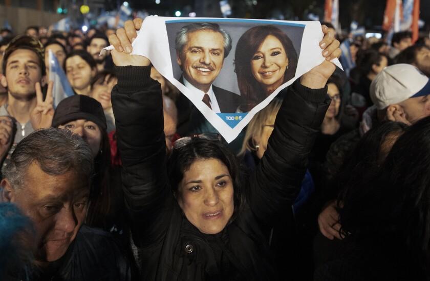 Supporters of Alberto Fernandez and Cristina Kirchner