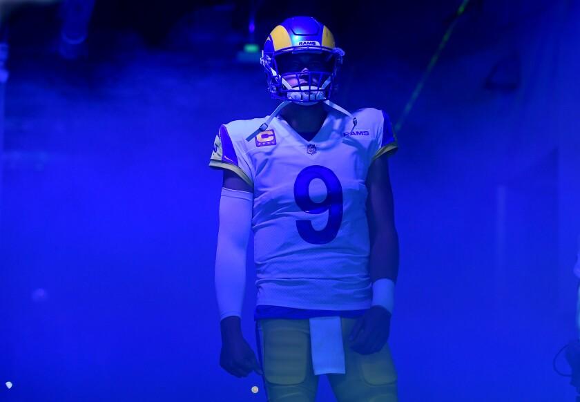 Rams quarterback Matthew Stafford waits to be introduced before Sunday's season opener.